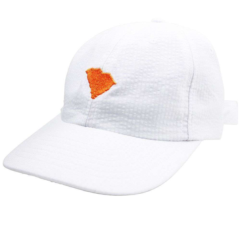 South Carolina Seersucker Bow Hat in White with Orange by Lauren James