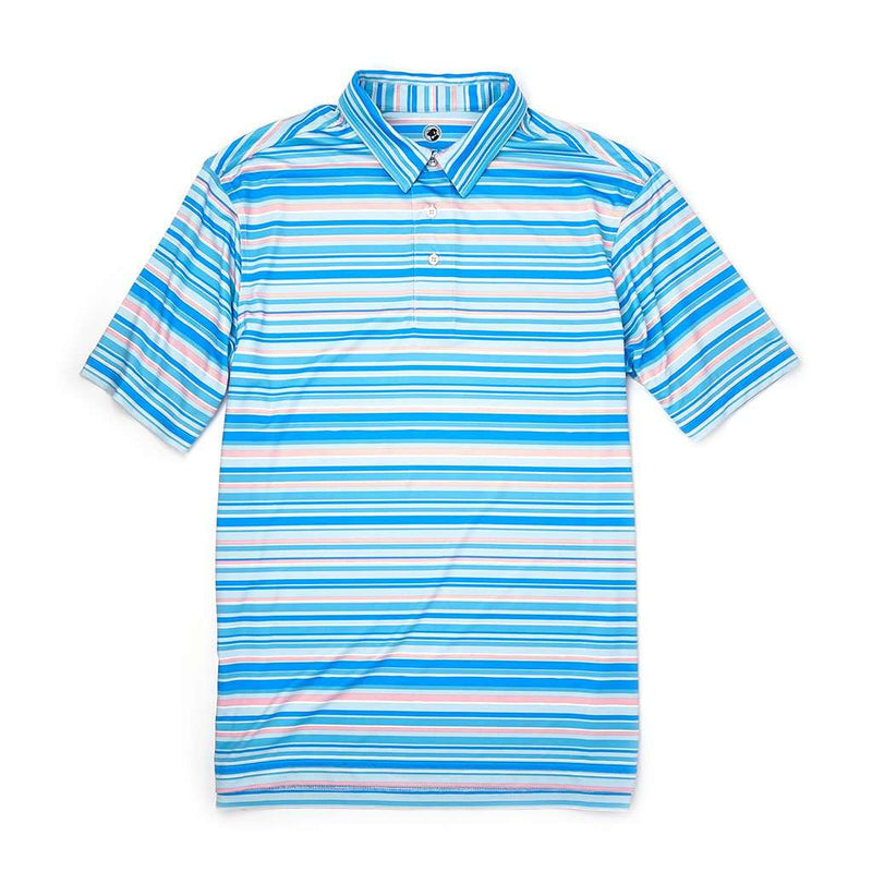 Southern Proper Performance Polo in Bay Blue Stripes