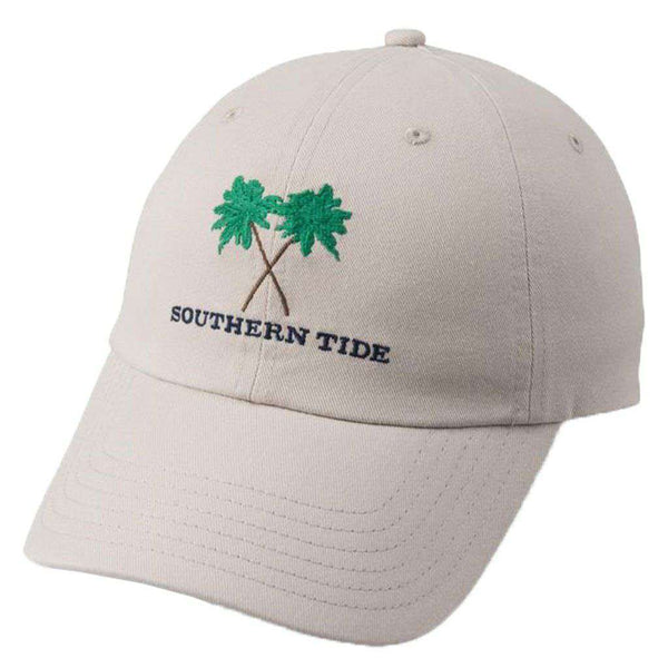 Southern Tide Crossed Palms Embroidered Hat in Stone