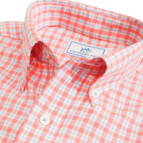 Precheck Plaid Intercoastal Performance Shirt in Melon by Southern Tide - FINAL SALE