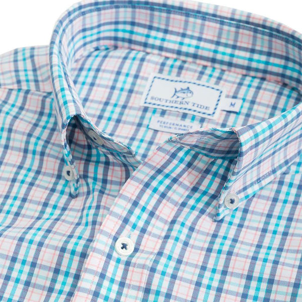 Southern Tide Surfsong Plaid Intercoastal Performance Shirt in Seven Seas Blue