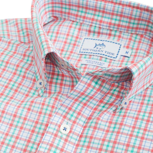 Surfsong Plaid Intercoastal Performance Shirt in Sunset Coral by Southern Tide - FINAL SALE
