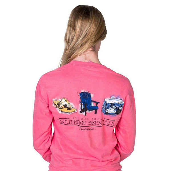 "Southern Essentials ""Beach Weekend"" Long Sleeve Tee in Watermelon by Live Oak  - 1"