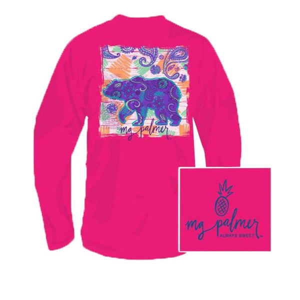 Southern Fried Cotton Beary Sweet Long Sleeve Tee in Heliconia