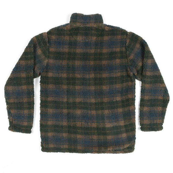 Andover Plaid Sherpa Pullover in Navy & Dark Green by Southern Marsh - FINAL SALE