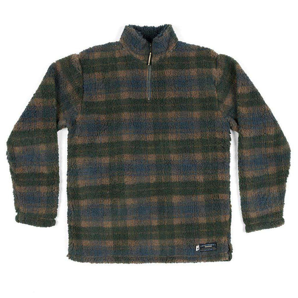 Southern Marsh Andover Plaid Sherpa Pullover in Navy & Dark Green