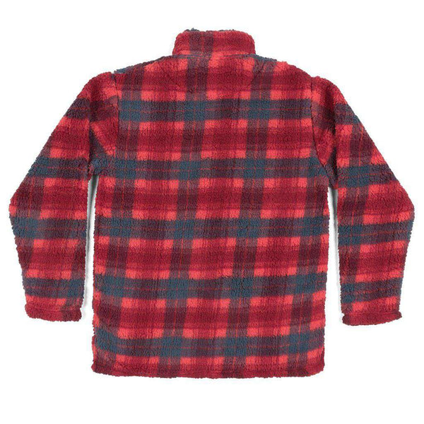 Andover Plaid Sherpa Pullover in Red & Navy by Southern Marsh - FINAL SALE