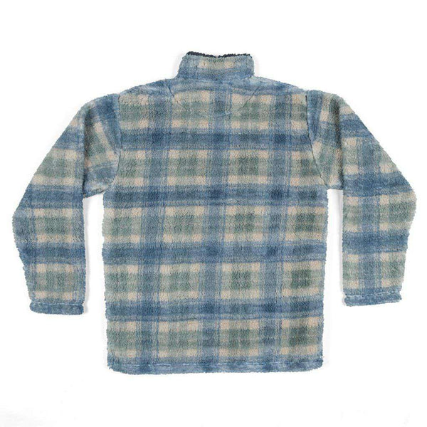 Southern Marsh Andover Plaid Sherpa Pullover in Tan & Slate