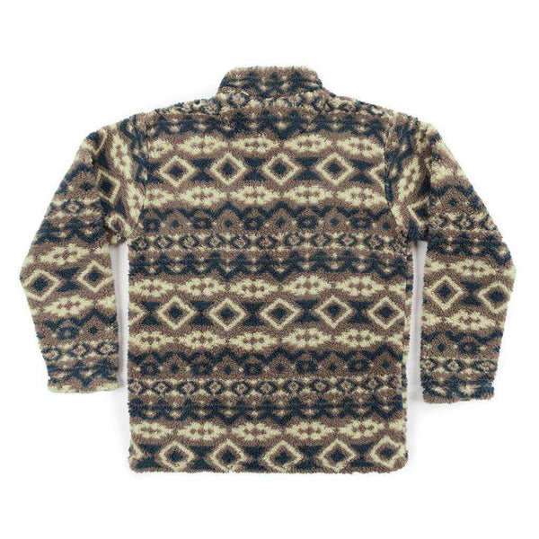 Southern Marsh Appalachian Peak Sherpa Pullover in Tan and Navy