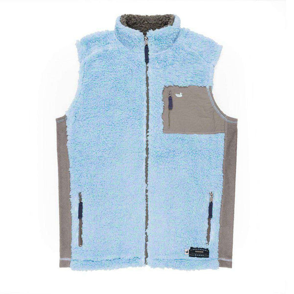 Southern Marsh Blue Ridge Sherpa Vest in Lilac and Mint