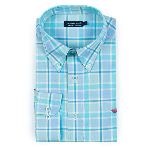 Southern Marsh Brevard Plaid Dress Shirt in Teal & Blue