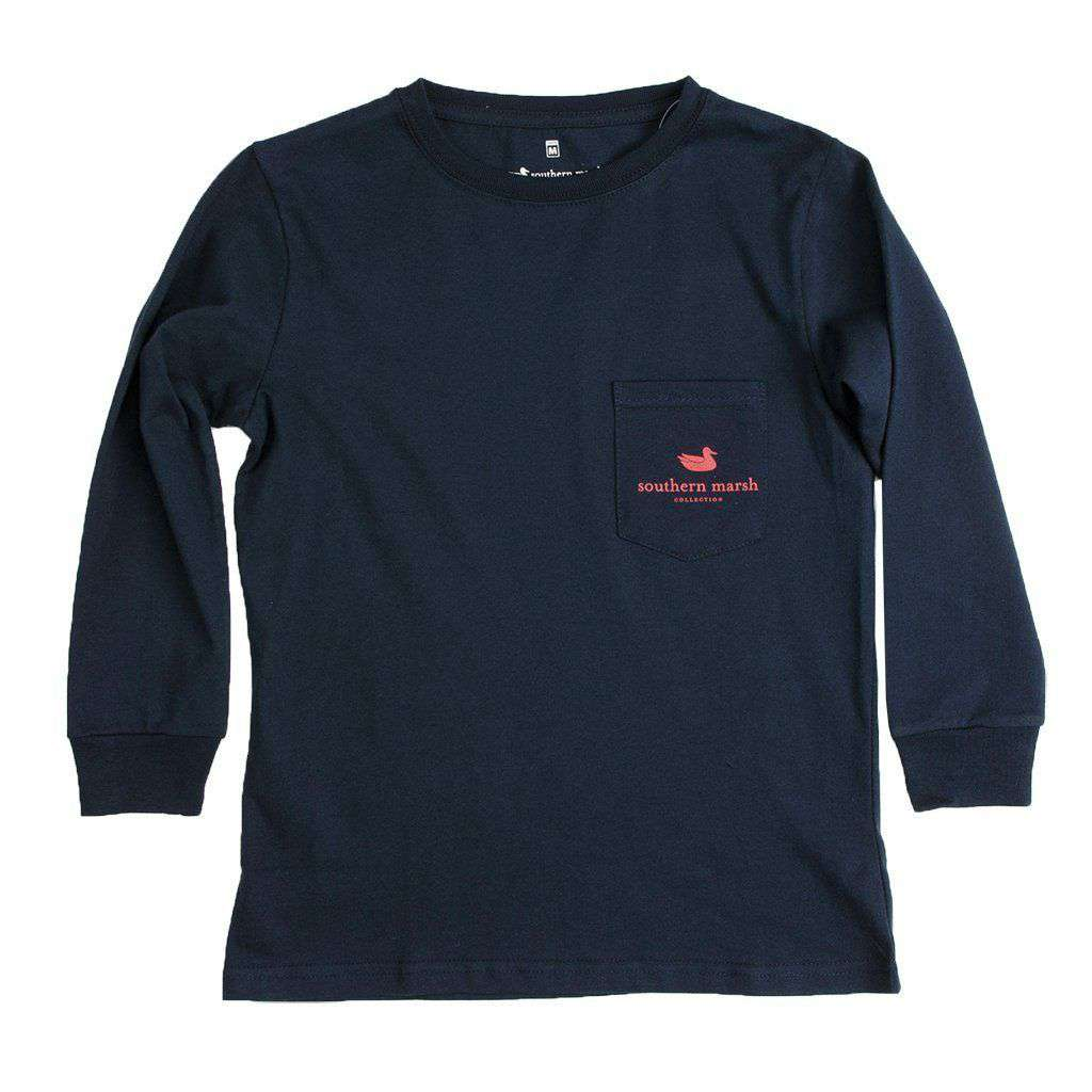 Chocolate Lab Long Sleeve Tee in Navy by Southern Marsh - FINAL SALE