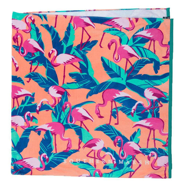 Flamingos Beach Towel in Peach by Southern Marsh - FINAL SALE