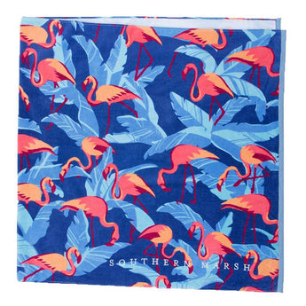 Flamingos Beach Towel in Slate by Southern Marsh