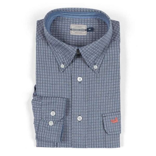 Leeward Textured Grit Shirt in Navy by Southern Marsh - FINAL SALE