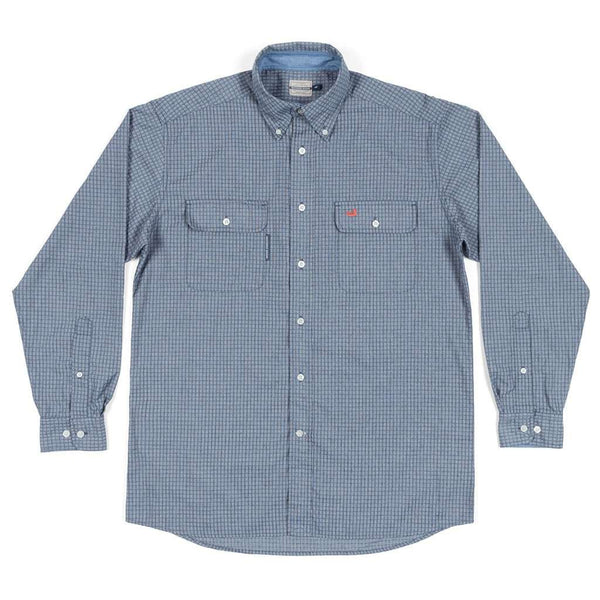 Southern Marsh Leeward Textured Grit Shirt in Navy