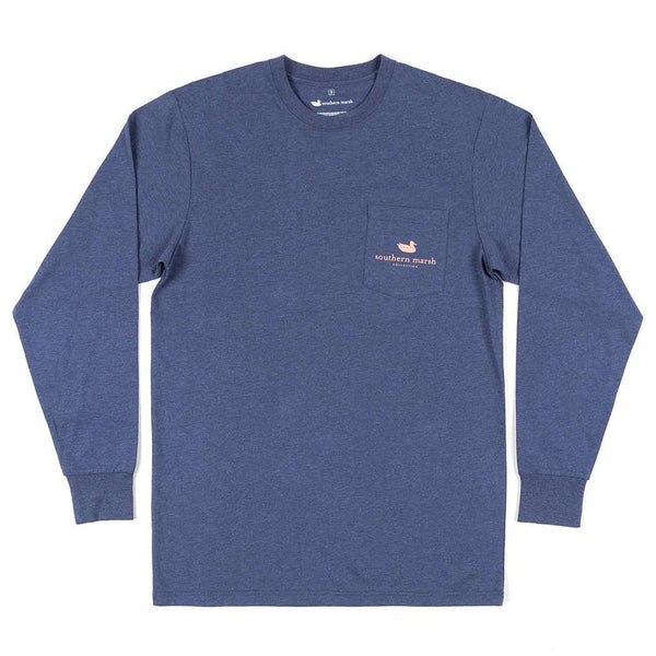 Long Sleeve Vistas Egret Tee in Washed Navy by Southern Marsh