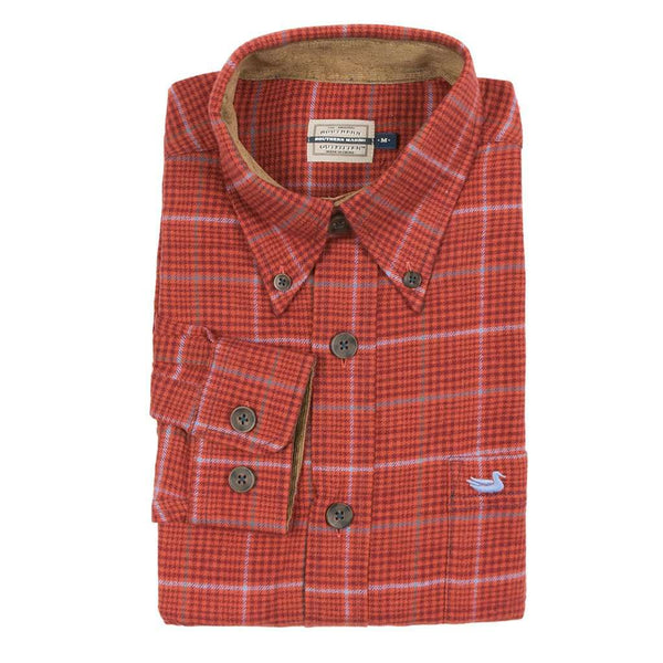 Southern Marsh Madison Houndstooth Flannel in Maroon & Bisque
