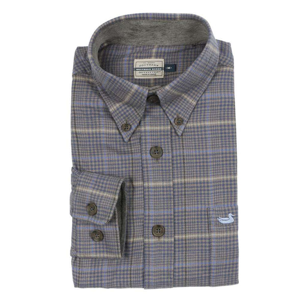 Southern Marsh Madison Houndstooth Flannel in Navy & Burnt Taupe