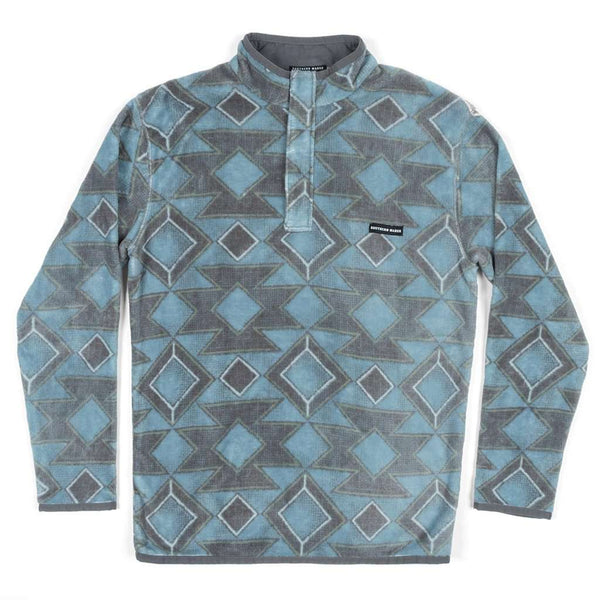 Southern Marsh Pueblo Aztec Pullover in French Blue & Midnight Gray
