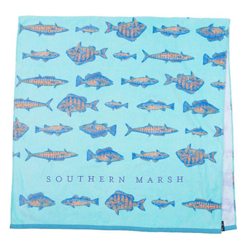 Southern Marsh Riptide Beach Towel in Antigua Blue