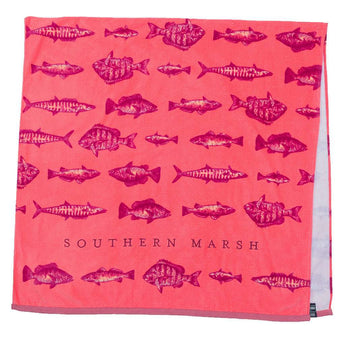 Southern Marsh Riptide Beach Towel in Coral