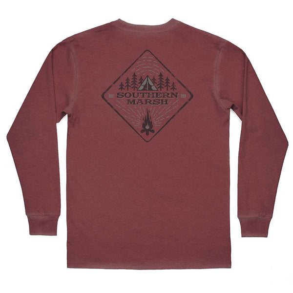 "Southern Marsh SEAWASHâ""¢ Long Sleeve Tent Tee in Crimson"