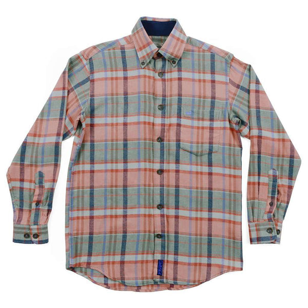 Stratton Flannel Shirt in Sage and Burnt Red by Southern Marsh - FINAL SALE
