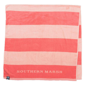 Southern Marsh Stripes Beach Towel in Coral & Peach