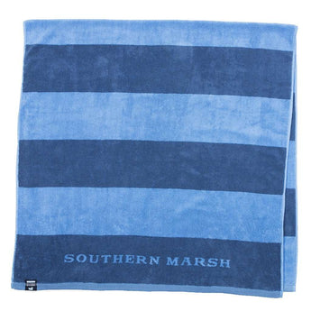 Southern Marsh Stripes Beach Towel in Navy & French Blue