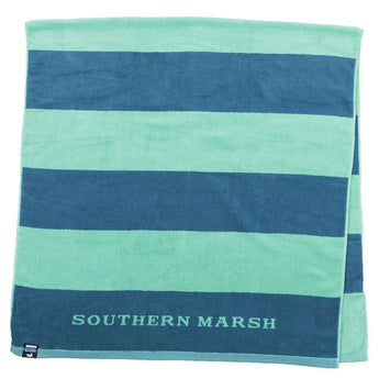 Southern Marsh Stripes Beach Towel in Navy & Mint