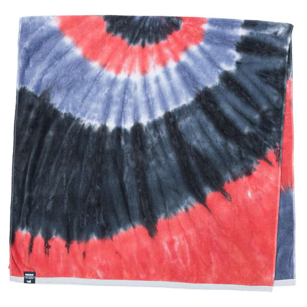 Tie Dye Beach Towel in Navy & Red by Southern Marsh - FINAL SALE