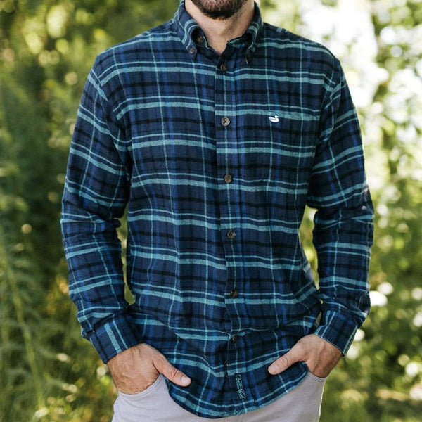 Wilshire Flannel Shirt in Navy and Green by Southern Marsh - FINAL SALE