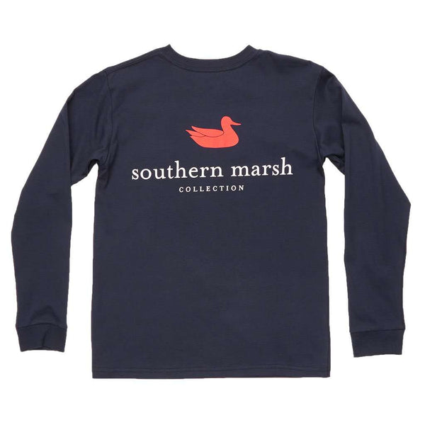 Southern Marsh Youth Authentic Long Sleeve Tee in Navy