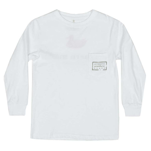 Southern Marsh Youth Authentic Long Sleeve Tee in White by Southern Marsh