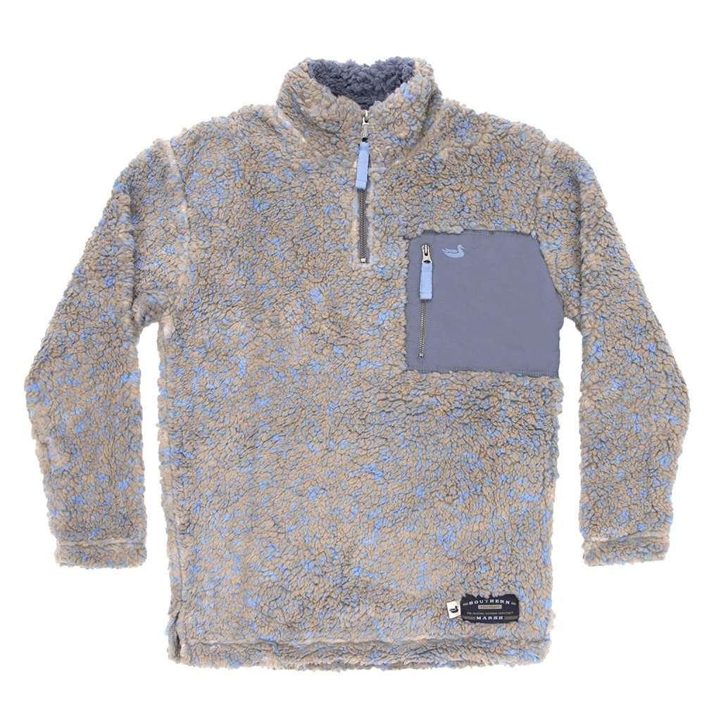 Youth Blue Ridge Sherpa Pullover in Brown and French Blue by Southern Marsh - FINAL SALE