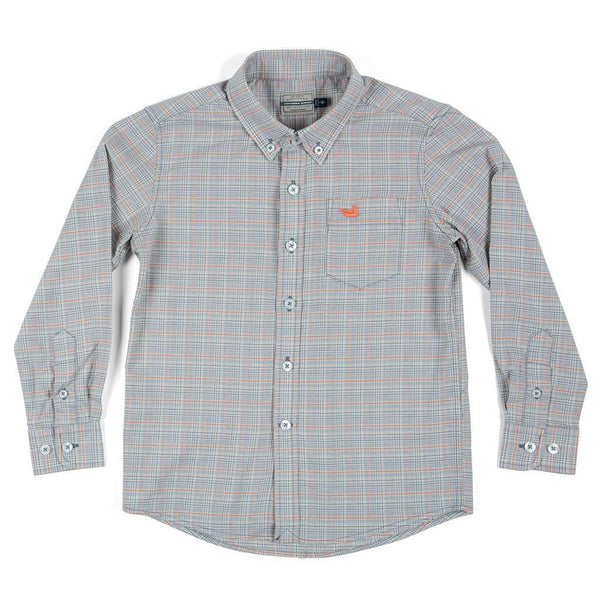 Southern Marsh Youth Davidson Washed Check Dress Shirt in Washed Slate & Burnt Orange