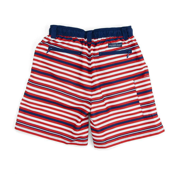 Southern Marsh Youth Dockside Swim Trunk in Red, White & Blue by Southern Marsh