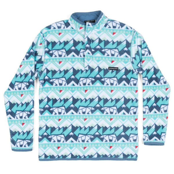 Southern Marsh Youth Fairbanks Pullover in White & Teal