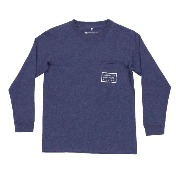 Youth Heathered Authentic Long Sleeve Tee in Washed Navy by Southern Marsh - FINAL SALE
