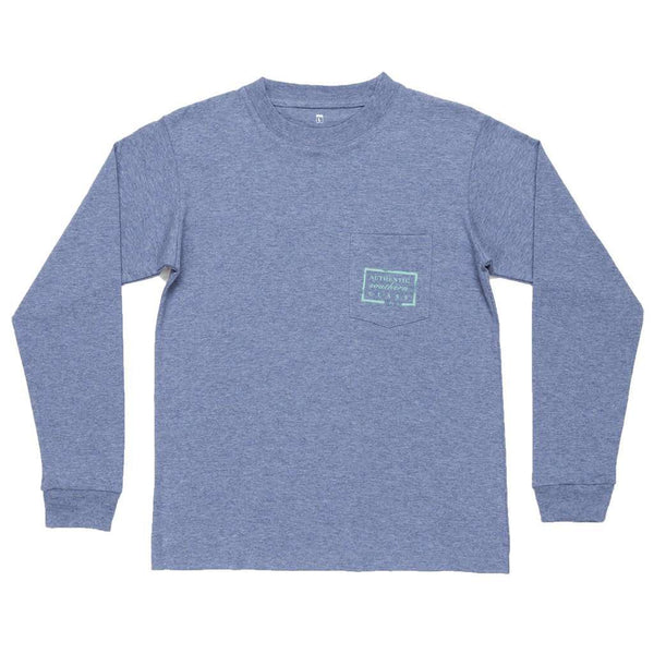 Youth Heathered Authentic Long Sleeve Tee in Washed Slate by Southern Marsh - FINAL SALE