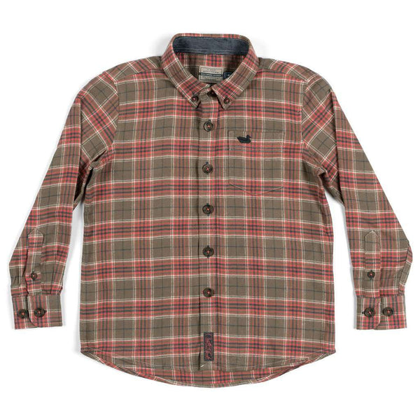 Southern Marsh Youth Hindman Flannel in Stone Brown & Tan