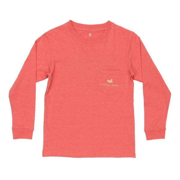 Youth Long Sleeve Branding Collection Hunting Dog Tee in Washed Red by Southern Marsh - FINAL SALE