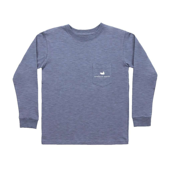 Southern Marsh Youth Long Sleeve Branding Flying Duck Tee in Washed Slate