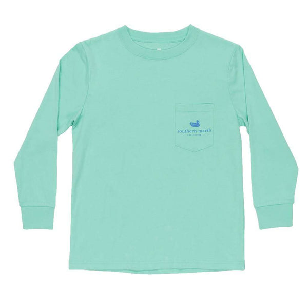Youth Long Sleeve Vintage Decoy Mallard Tee in Bimini Green by Southern Marsh - FINAL SALE