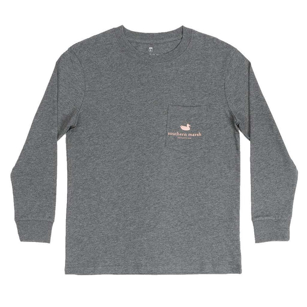 Youth Long Sleeve Vintage Decoy Wood Duck Tee in Midnight Gray by Southern Marsh - FINAL SALE
