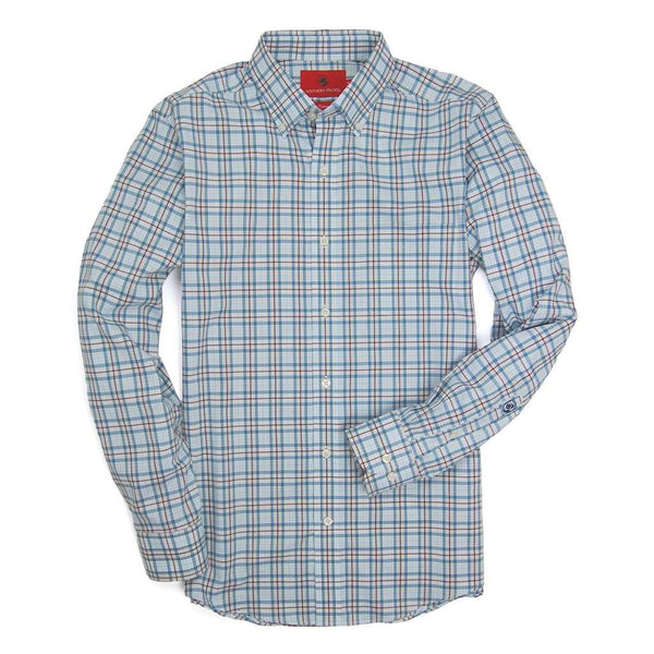 Southern Proper Henning Shirt in Blue Stone & Truffle Plaid