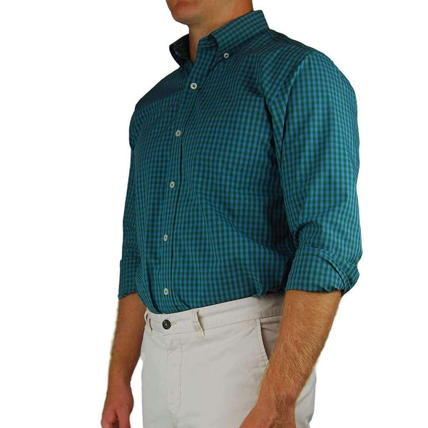 Southern Proper Henning Shirt in Pineneedle & Blue Stone Gingham by Southern Proper