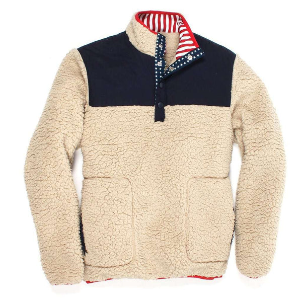 Southern Proper Old Glory Sherpa Pullover in Cream