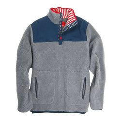 Southern Proper Old Glory Sherpa Pullover in Glacier Grey